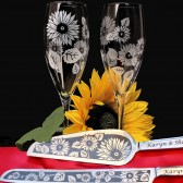 Sunflower themed wedding champagne flutes, cake server set