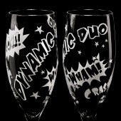 Superhero Themed Wedding Champagne Flutes, Bride and Groom Glasses