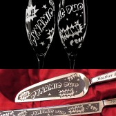 Superhero Wedding Cake Server, Knife, and Champagne Flute set