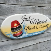 Surfboard Just Mariied Sign