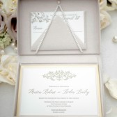 Blush glitter boxed wedding invitation