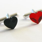 Poker Swarovski Hearts Cuff Links