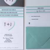 Modern Stripe & Heart Sweet Wedding Invitation