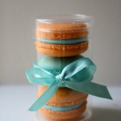 Three French Macaron Party Wedding Favor in Cylinder Clear Box