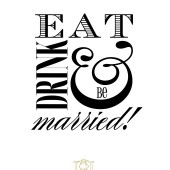 Wood Handle Wedding Stamp – Eat Drink & Be Married for reception candy buffet treat bags, custom napkins, menus – TP007