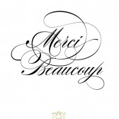 Wood handle mounted Thank You elegant Merci Beaucoup Flourish Note Card Stamp Wedding, Scrapbooking – TY001