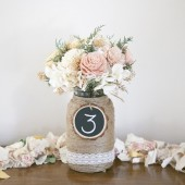Wood Slice Chalkboard Table Numbers