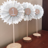 Wedding Table Numbers-Table Signs-Wood Signs-Literary Numbers-Book Themed Wedding-Paper Rosettes-Wedding Decor-Rustic Wedding