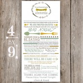 Vintage Floral Wedding Table Menu Thank You
