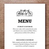 Tandem Printable Wedding Menu