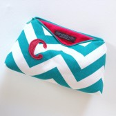 Teal & Red Monogram Cosmetic Bag