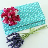 Teal and White Scallops Clutch with Azalea Flower