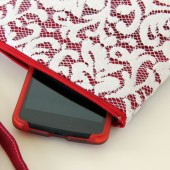 Angela Wristlet - White Scroll Lace and Red Linen