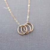 14K Gold Three Rings Necklace