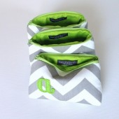 Apple Green and Grey Chevron Monogram Bags