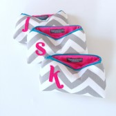 Three Hot Pink Teal Grey Chevron Personalized Cosmetic Gift Bags