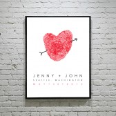 Custom Fingerprint Heart Wedding Poster