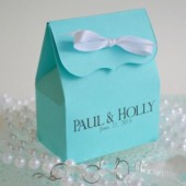 Tiffany Favor Bag Personalized with the names of the Bride & Groom