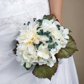 Tiffany - Hydrangea and dahlia bouquet with Real Touch baby's breath