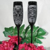 Black champagne flutes, Tiki Style for Hawaiian wedding