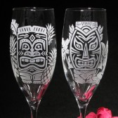 Tiki Champagne Flutes, hawaii wedding