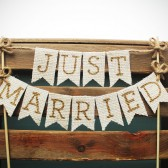 Just Married Cake Topper, Gold Letters White Burlap, Rustic Country Barn Wedding Cake Topper, Wedding Cake Topper Burlap Banner Cake Topper