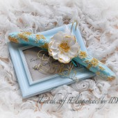 Vintage inspired hand painted French lace, Robin egg & Gold 'Bride' Hanger