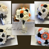 "9"" 'Fall in Love' Bridal Fabric Flower Brooch Bouquet"