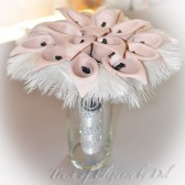 "11"" 'Forget-Me-Not' Calla Lily Bridal Bouquet - Calla Lily, Ostrich Feathers and Bling + FREE Groom Boutonniere"
