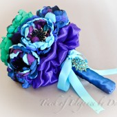 'Peacock Bliss' Fabric Flower Bridal Bouquet