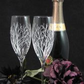 Winter Tree Branches champagne flutes