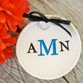 Triple Monogram Ring Bearer Bowl