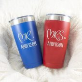 Mr and Mrs Tumbler Set - Personalized Wedding Gift - Bridal Shower Gift - Engagement - Double Wall Vacuum Insulated Tumbler - Polar Camel