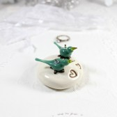 Turquoise blue birds ceramic wedding cake topper