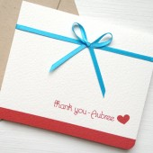 Turquoise and Red Wedding Thank You Card