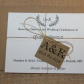 Rustic twine Save the Date Wedding Invitation