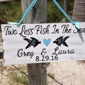 Two less fish in the sea sign