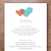 Two Hearts Printable Wedding Menu