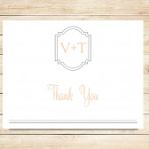 Peach and Gray Thank You Card