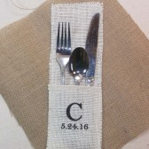 Personalized Utensil Holders - White Burlap