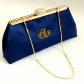 Navy Blue and Gold Paisley Monogram Clutch