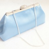 Sky Blue and Silver Paisley Bridal Clutch