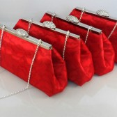 Cardinal Red, Red Bordeaux Lace and Champagne Wedding Party Clutches