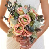 Victoria - Shabby Chic English Tea inspired rose and succulent bouquet