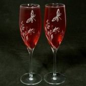 Vine and Dragonfly champagne flutes
