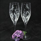 Vines and Dragonfly Champagne Flutes