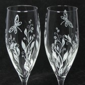 Vine and dragonfly wedding toast flutes
