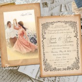 "Wedding Invitation Card - Allaire Vintage Photo Personalized 5""x7"""