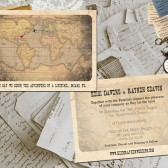 Wedding Invite and RSVP - Destination Vintage Rustic Personalized Card Suite