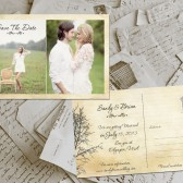 "Wedding Save The Date Cards - TwinePark Vintage Photo Personalized 4""x6"""